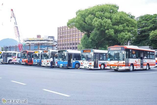 ずらっと並んだバスが目印