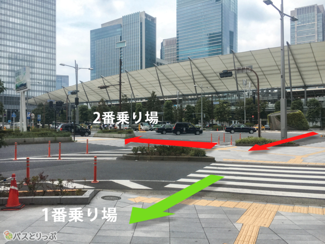 八重洲中央口から東京駅 京成バス2番乗り場へのアクセス