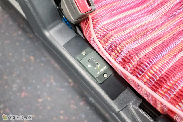通路側の座席は肘掛けの下にUSBポートがあります