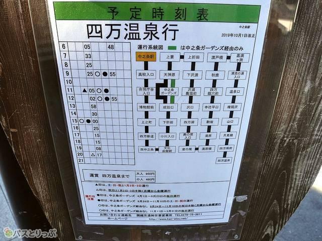 四万温泉行バス時刻表