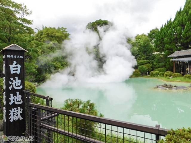和風庭園に大きく広がる、青みを帯びた白い池、白池地獄。湯気が立つのが改めて不思議な光景