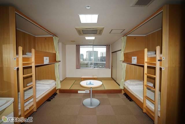 新大阪ユースホステルの4人部屋